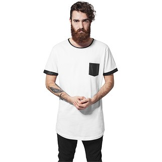 URBAN CLASSICS T-Shirt Long Shaped Leather Imitation Weiß/Schwarz