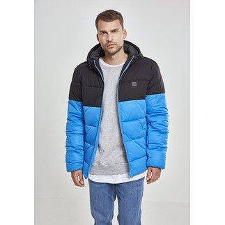 URBAN CLASSICS Winterjacke 2-Tone Hooded Puffer blau/schwarz