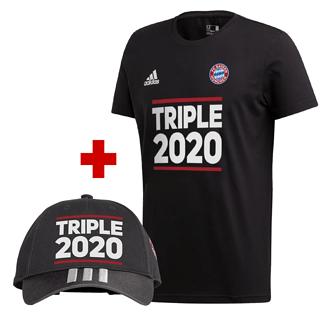 Adidas FC Bayern München T-Shirt Triple Sieger 2020 Schwarz + Triple Cap Schwarz