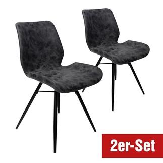 BREAZZ Stuhl Luzern 2er Set schwarz/anthrazit