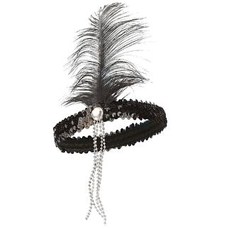 Karnevals- Haarband Pailetten mit Feder schwarz