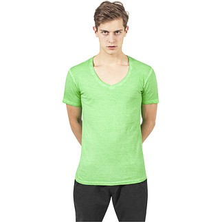 URBAN CLASSICS T-Shirt Spray Dye V-Neck Mint
