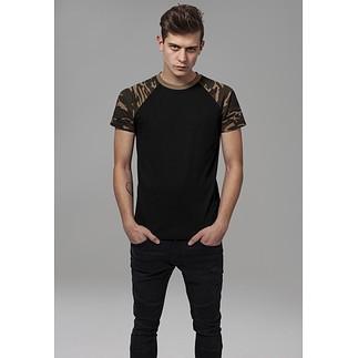 URBAN CLASSICS T-Shirt Raglan Contrast schwarz/woodcamo