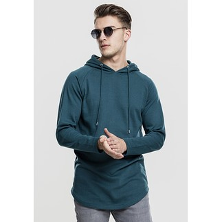 URBAN CLASSICS Hoodie Long Shaped Terry petrol