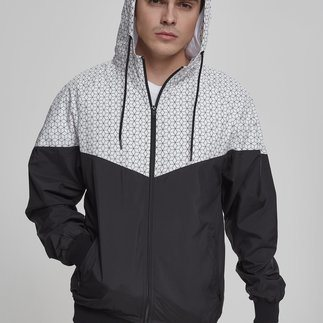 URBAN CLASSICS Windrunner Pattern Arrow schwarz/weiß