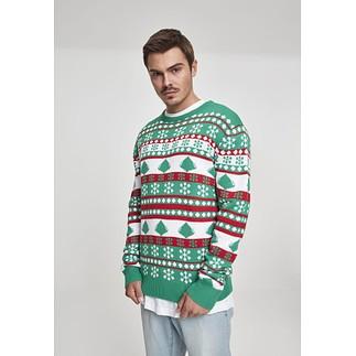 URBAN CLASSICS Christmas Sweater Snowflake Tree grün/weiß/rot