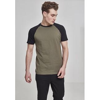 URBAN CLASSICS T-Shirt Raglan Contrast olive/schwarz
