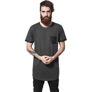 URBAN CLASSICS T-Shirt Long Shaped Leather Imitation Dunkelgrau/Schwarz