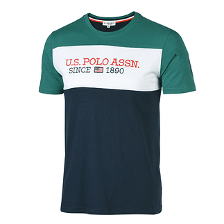 U.S. POLO ASSN. T-Shirt Fashion grün/weiß/navy