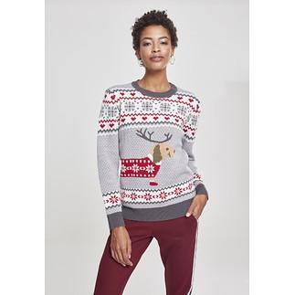 URBAN CLASSICS Christmas Sweater Sausage Dog Damen grün/weiß/rot