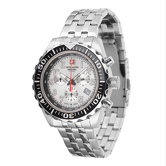Swiss Alpine Military Herrenuhr Chronograph mit Edelstahl Armband Silber