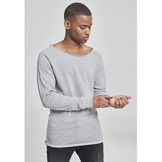 URBAN CLASSICS Sweatshirt Long Open Edge Terry Grau