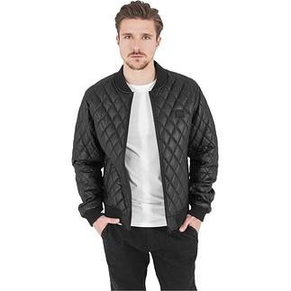URBAN CLASSICS Jacke Diamond Quilt Leather Imitation Schwarz