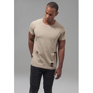 URBAN CLASSICS T-Shirt Ripped Raglan sand