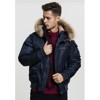 URBAN CLASSICS Bomberjacke Hooded Heavy Fake Fur navy