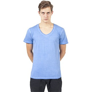 URBAN CLASSICS T-Shirt Spray Dye V-Neck Himmelblau