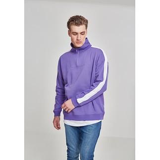 URBAN CLASSICS Sweatshirt Oversize Troyer ultraviolett/weiß