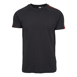 URBAN CLASSICS T-Shirt Stripe Shoulder Raglan schwarz/rot/grün