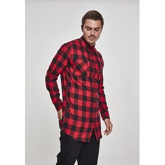 URBAN CLASSICS Hemd Side-Zip Long Checked Flanell Schwarz/Rot
