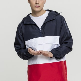URBAN CLASSICS Jacke Color Block Pull Over navy/rot/weiß