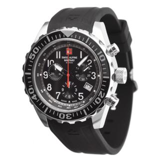 Swiss Alpine Military Herrenuhr Chronograph mit Sport-Armband Schwarz