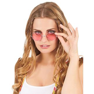 Karnevals- Brille Hippie 70er Jahre rot