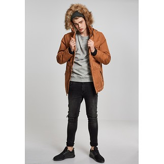 URBAN CLASSICS Parka Heavy Cotton Imitation Fur toffee