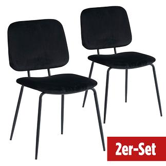 BREAZZ Stuhl School Velvet 2er Set schwarz