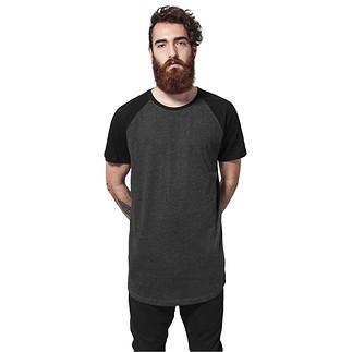 URBAN CLASSICS T-Shirt Shaped Raglan Long Dunkelgrau/Schwarz