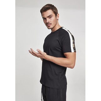 URBAN CLASSICS T-Shirt Stripe Shoulder Raglan schwarz/weiß/camo