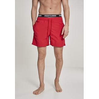 URBAN CLASSICS Badeshorts Two in One rot/weiß/schwarz
