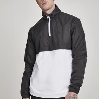 URBAN CLASSICS Überziehjacke Stand Up Collar Pull Over schwarz/weiß