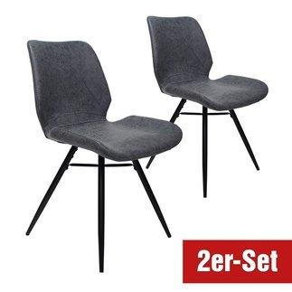 BREAZZ Stuhl Luzern 2er Set blau/grau