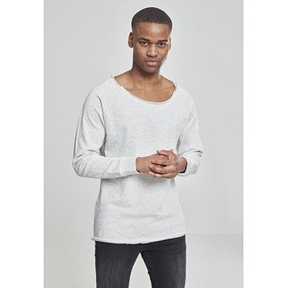 URBAN CLASSICS Sweatshirt Long Open Edge Terry Offwhite Melange