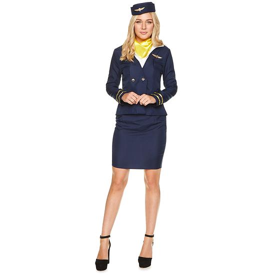 Karnevals- Kostüm Stewardess Flugbegleiterin Damen blau/weiß