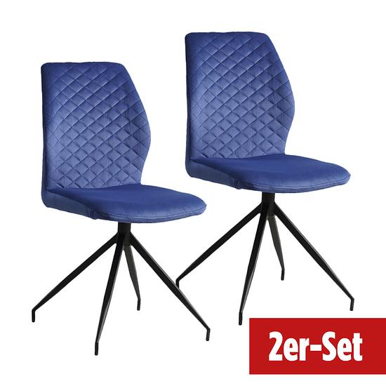 BREAZZ Stuhl Coupole Velvet 2er Set blau