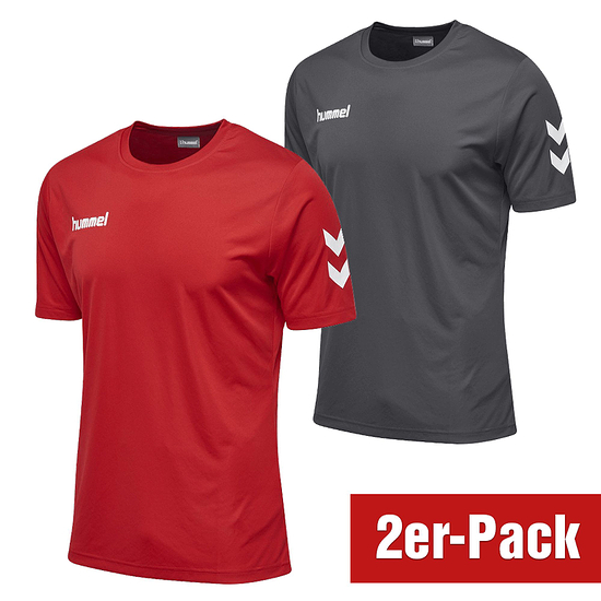 hummel 2er Set T-Shirt Core Poly Grau/Rot