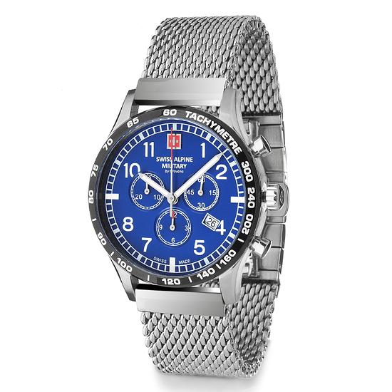Swiss Alpine Military Herrenuhr Chronograph mit Milanaise-Armband Blau/Silber