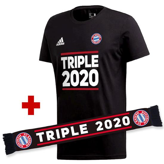 Adidas FC Bayern München T-Shirt Triple Sieger 2020 + Schal Triple Schwarz/Schwarz