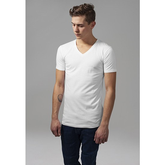URBAN CLASSICS T-Shirt Basic V-Neck weiß