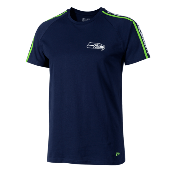 New Era Seattle Seahawks T-Shirt Raglan Shoulder Print blau