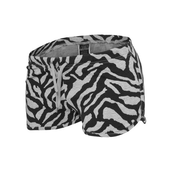 URBAN CLASSICS Hotpants Zebra Damen Grau/Schwarz