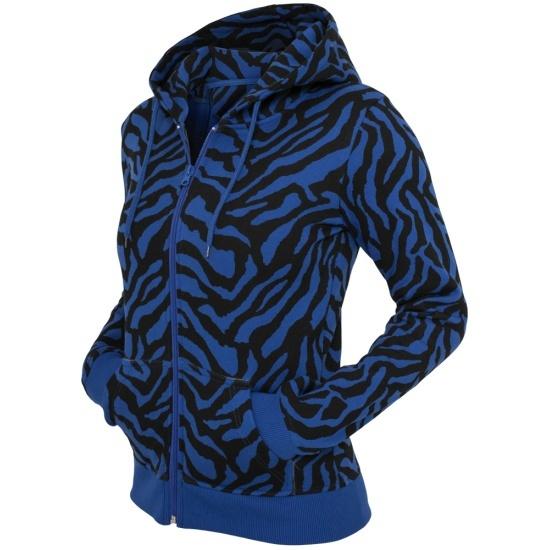 URBAN CLASSICS Hoodie Zebra Zip Damen Royal/Schwarz