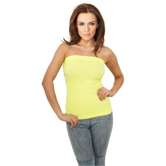 URBAN CLASSICS Top Neon Strapless Damen Gelb