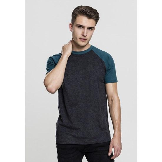 URBAN CLASSICS T-Shirt Raglan Contrast grau/petrol