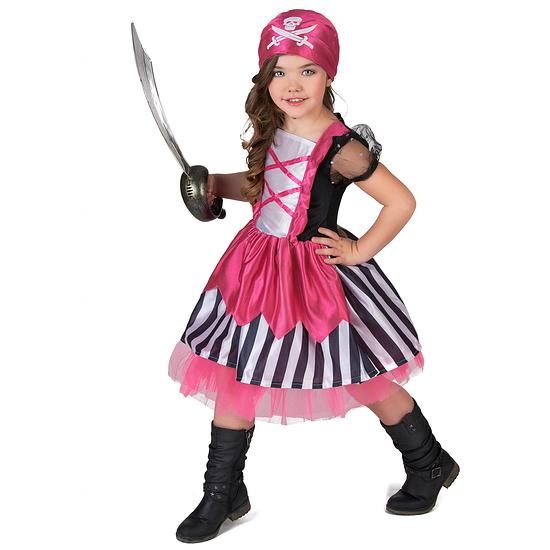 Karnevals- Kostüm Piratin Mädchen schwarz/weiß/pink