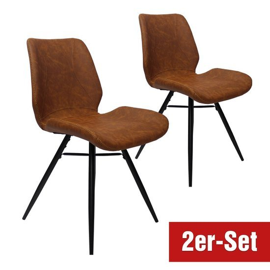BREAZZ Stuhl Luzern 2er Set cognac