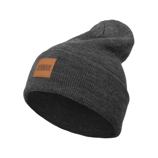 URBAN CLASSICS Beanie Leatherpatch Long Dunkelgrau