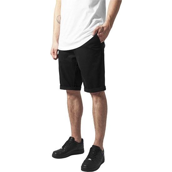 URBAN CLASSICS Chino Shorts Stretch Turnup schwarz
