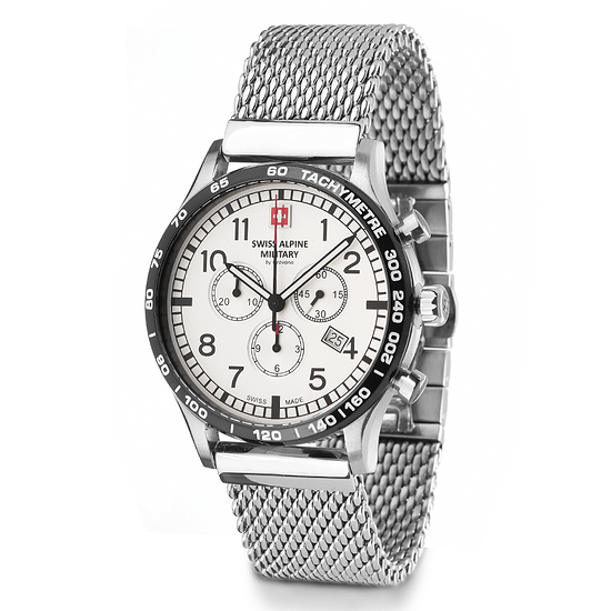 Swiss Alpine Military Herrenuhr Chronograph mit Milanaise-Armband Weiß/Silber